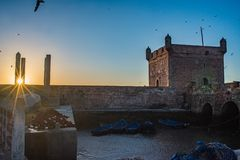Coucher du soleil d'Essaouira, Marocco photographie stock