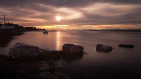 Coucher du soleil d'estuaire de Loughor Images libres de droits