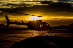 Coucher du soleil d'hélicoptère Photo stock