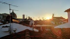 Coucher du soleil d'hiver à Florence image stock