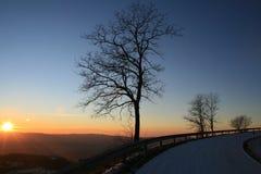 Coucher du soleil d'hiver Photos stock