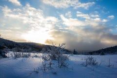 Coucher du soleil d'hiver Photos libres de droits