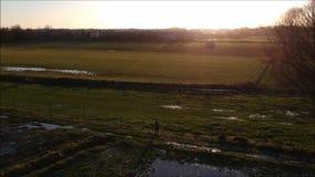 Coucher du soleil d'hiver dans la campagne banque de vidéos