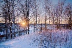 Coucher du soleil d'hiver de colline photo libre de droits