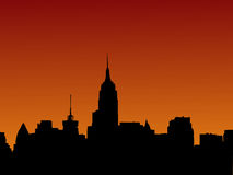 coucher du soleil d'horizon de Manhattan Photos libres de droits