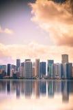 Coucher du soleil d'horizon de Miami Photos stock