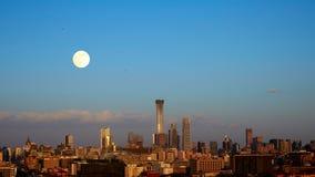 Coucher du soleil d'horizon de Pékin, Chine Photos libres de droits