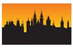 coucher du soleil d'horizon de Prague Photo stock