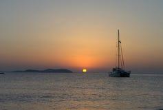 Coucher du soleil d'Ibiza sur San Antonio Image stock