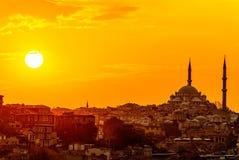 Coucher du soleil d'Istanbul Photographie stock