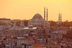 Coucher du soleil d'Istanbul Photos stock