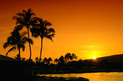 coucher du soleil d'Oahu Photos stock