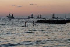 coucher du soleil d'Oahu photographie stock libre de droits