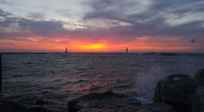 Coucher du soleil d'octobre le lac Michigan Photo libre de droits