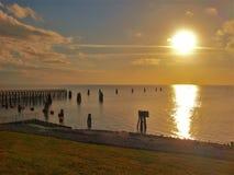 Coucher du soleil d'Okeechobee de lac photos stock