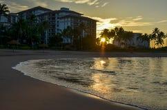 Coucher du soleil d'Olina de ` de Ko Oahu HI Images libres de droits