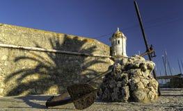 Coucher du soleil d'ombre d'Algarve Portugal d'ancre de paume de château photo libre de droits