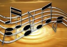 Coucher du soleil d'ondulation de musique de chrome Photo libre de droits