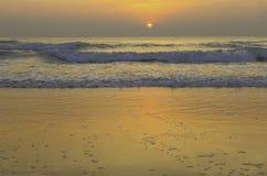 Coucher du soleil d'or sur la plage photos libres de droits