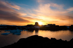 Coucher du soleil d'été en Antarctique Images stock