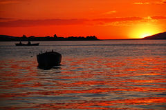 Coucher du soleil dans Apolyont Photos stock