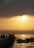 Coucher du soleil dans Aqaba Image stock