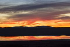 Coucher du soleil dans Aragon, Gallocanta, Espagne Image stock
