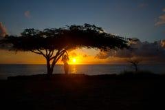 Coucher du soleil dans Aruba Photo libre de droits