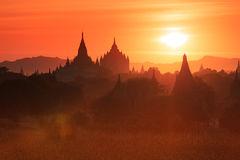 Coucher du soleil dans Bagan Photo libre de droits