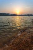 Coucher du soleil dans Belum royal Image stock