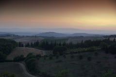 Coucher du soleil dans Chianti, Toscane photos stock
