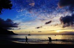 Coucher du soleil dans des couleurs de bleue Images stock