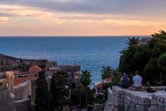 Coucher du soleil dans Dubrovnik, Croatie Photo libre de droits