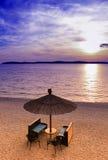 Coucher du soleil dans Fazana devant des îles de Brioni images stock