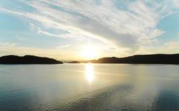 Coucher du soleil dans Frosta photo stock
