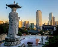 Coucher du soleil dans Gangnam photos stock