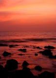 Coucher du soleil dans Goa, Inde. Images stock