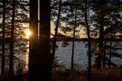 Coucher du soleil dans Helsinky photos libres de droits