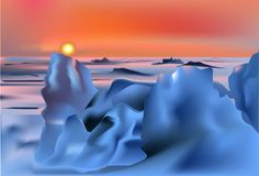 Coucher du soleil dans l'illustration de désert de neige Photos libres de droits