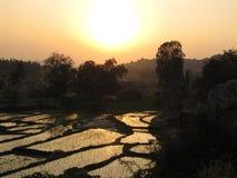 Coucher du soleil dans l'Inde Photographie stock libre de droits
