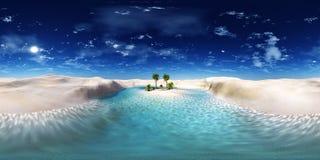 Coucher du soleil dans l'oasis illustration stock