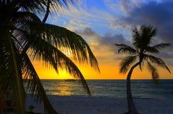 Coucher du soleil dans l'Océan Indien Photographie stock libre de droits