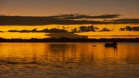 Coucher du soleil dans la lagune de Cuyabeno, dans la réservation faunistique de production de Cuyabeno image stock