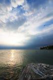 Coucher du soleil dans la marina de Colchester Photo stock