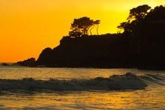 Coucher du soleil dans la plage Images libres de droits