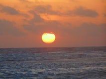 Coucher du soleil dans la plage de supi, Coro, faucon Photographie stock