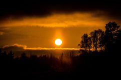 Coucher du soleil dans la région de Kaluga (Russie) Images stock