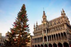 Coucher du soleil dans la vieille ville de Bruxelles Photographie stock