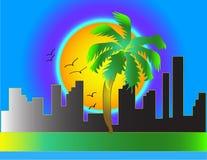 Coucher du soleil dans la ville illustration stock