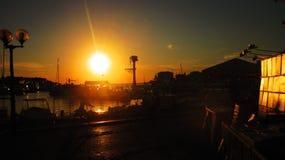 Coucher du soleil dans le  de PoreÄ photographie stock